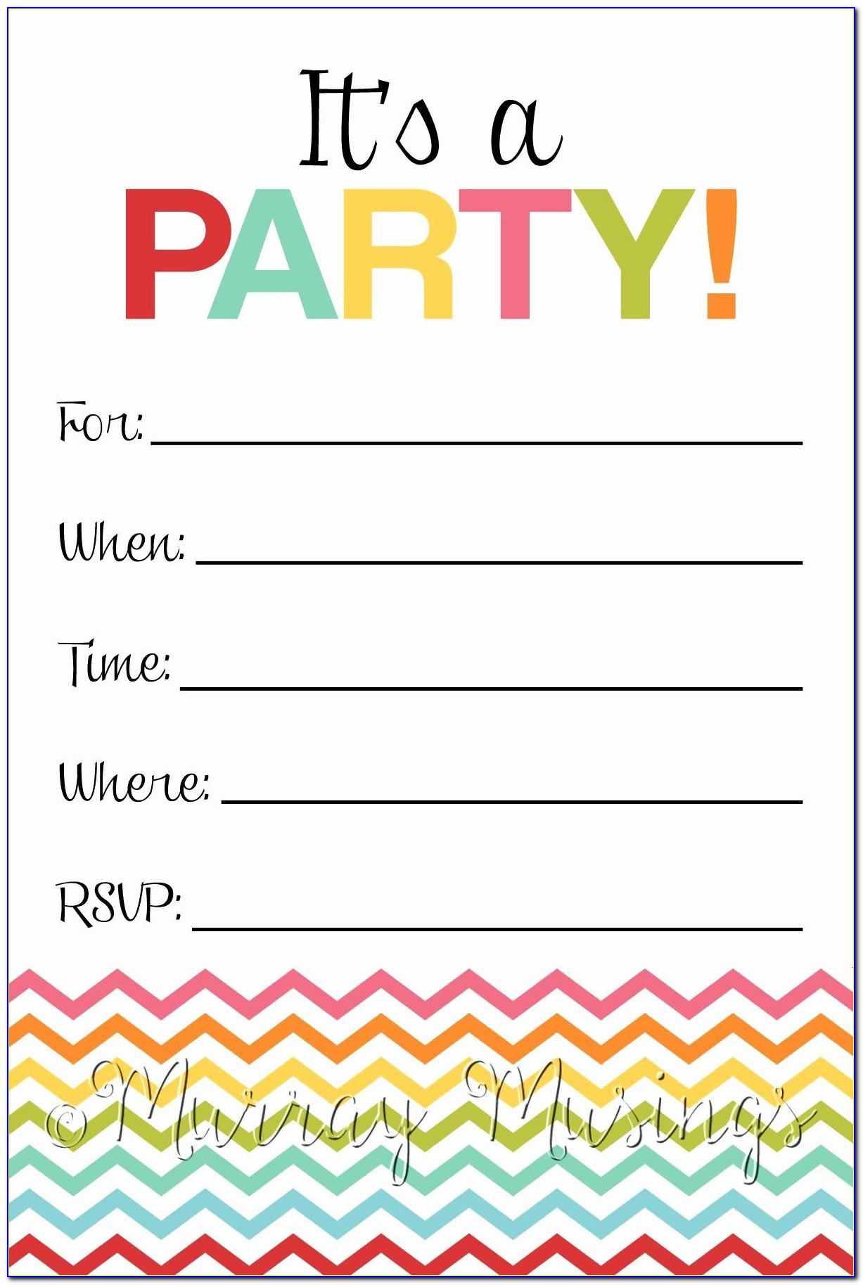 Fill In Party Invitations