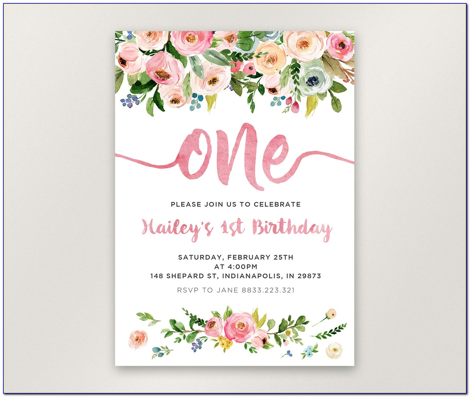 First Birthday Floral Invitations