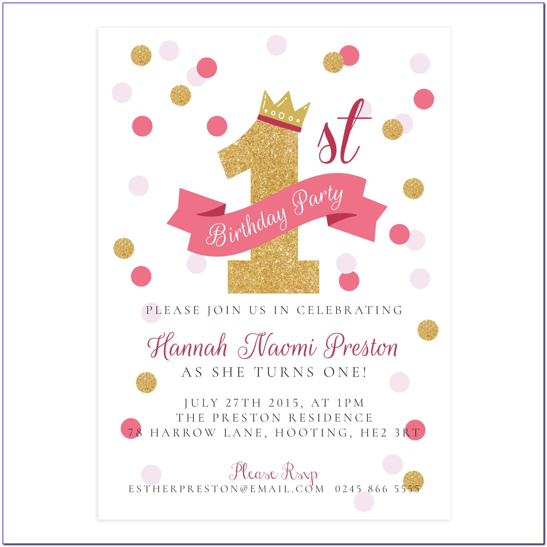 First Birthday Party Invitations Photo