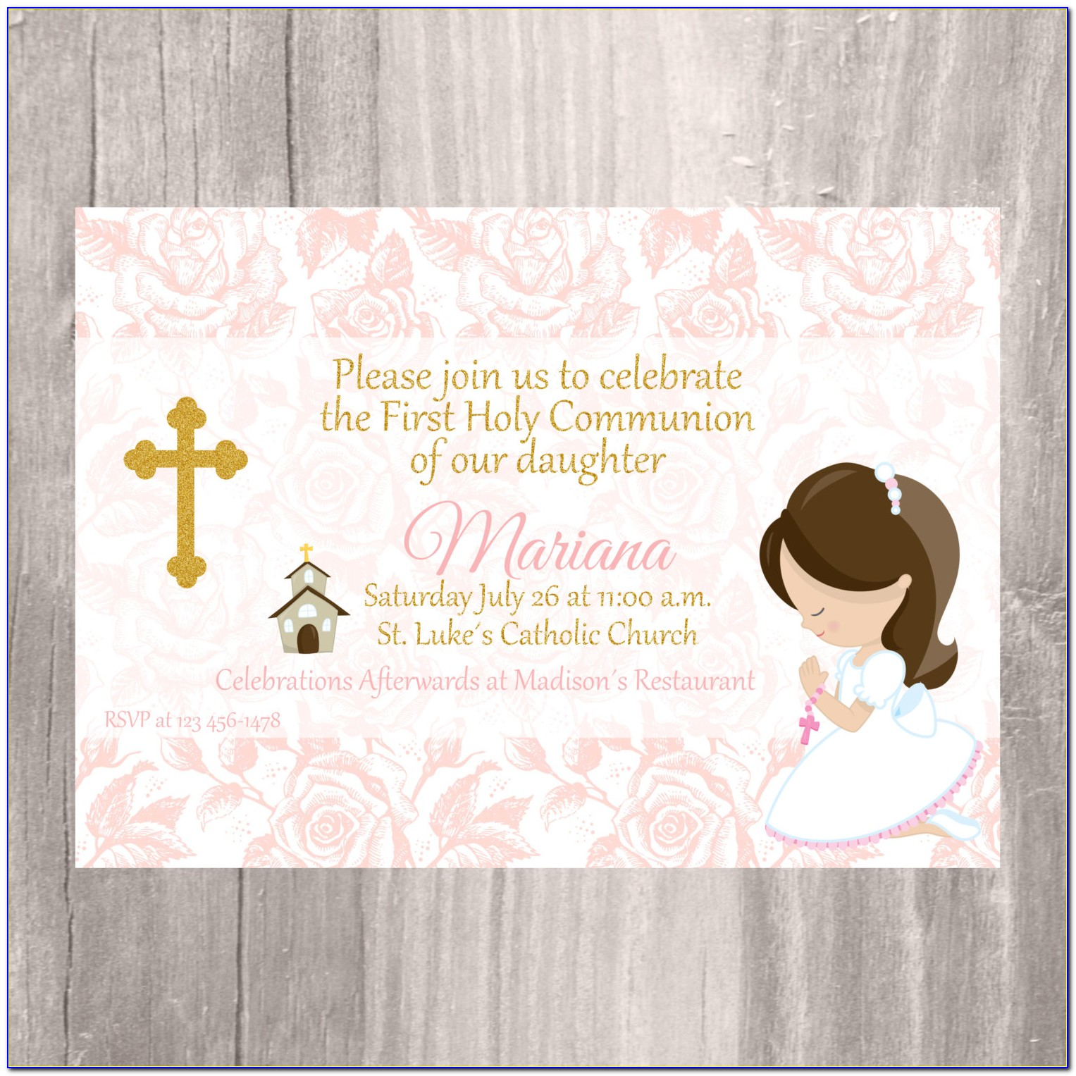 First Holy Communion Invitation With Photo