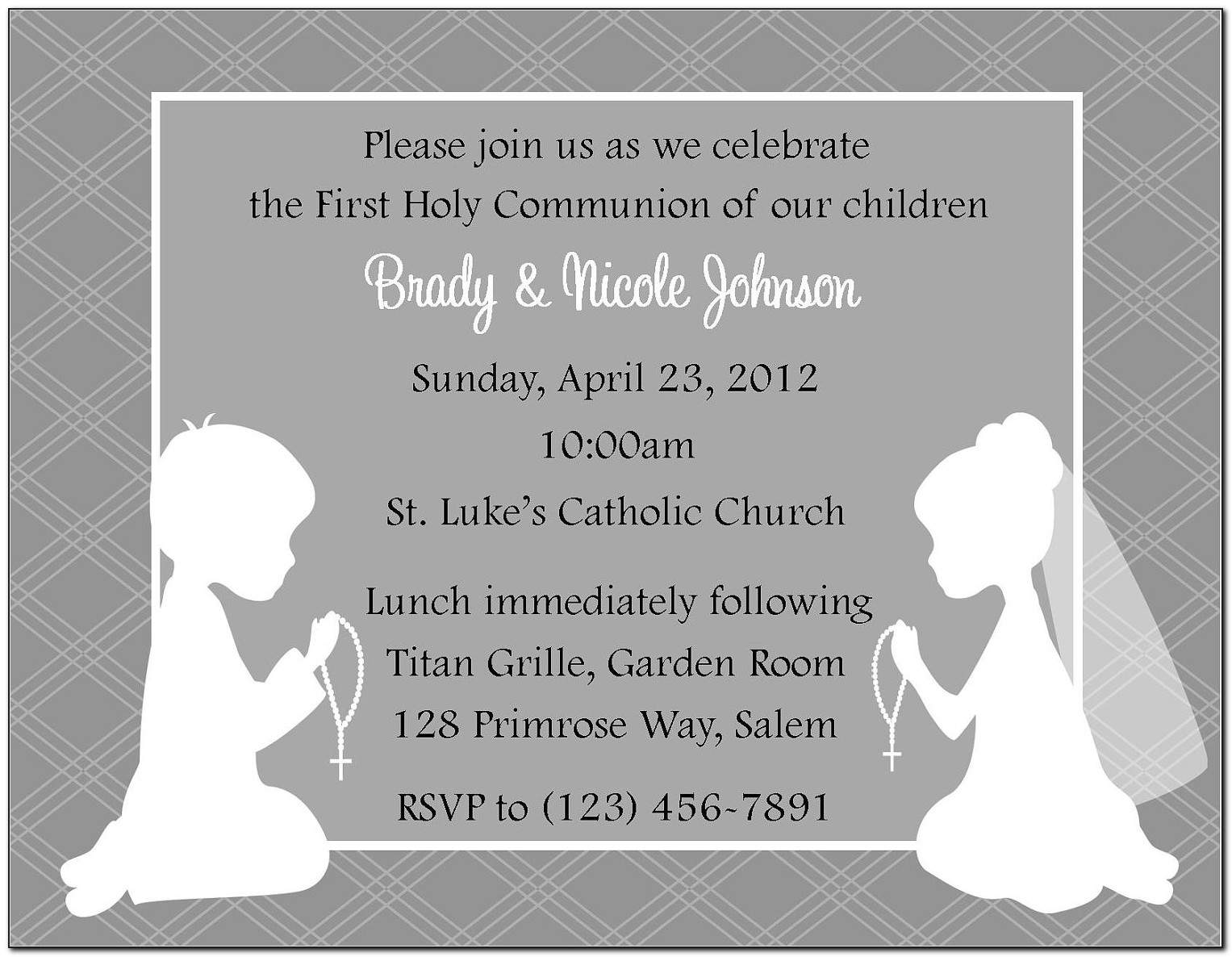 First Holy Communion Invitations Twins