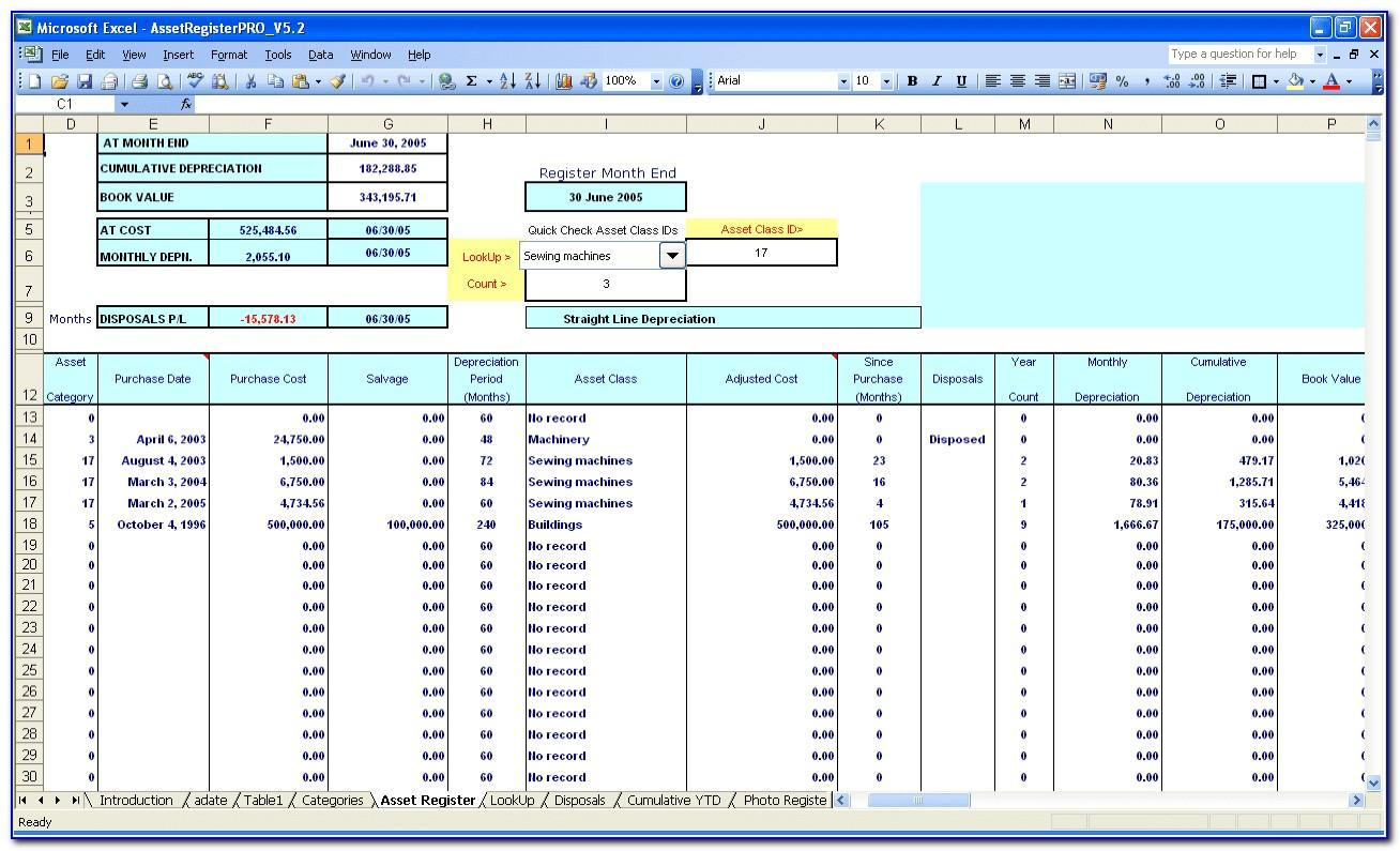 Fixed Asset Register Template Excel