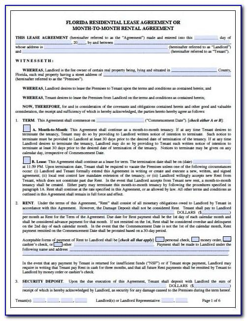 Florida Residential Lease Agreement Word Template