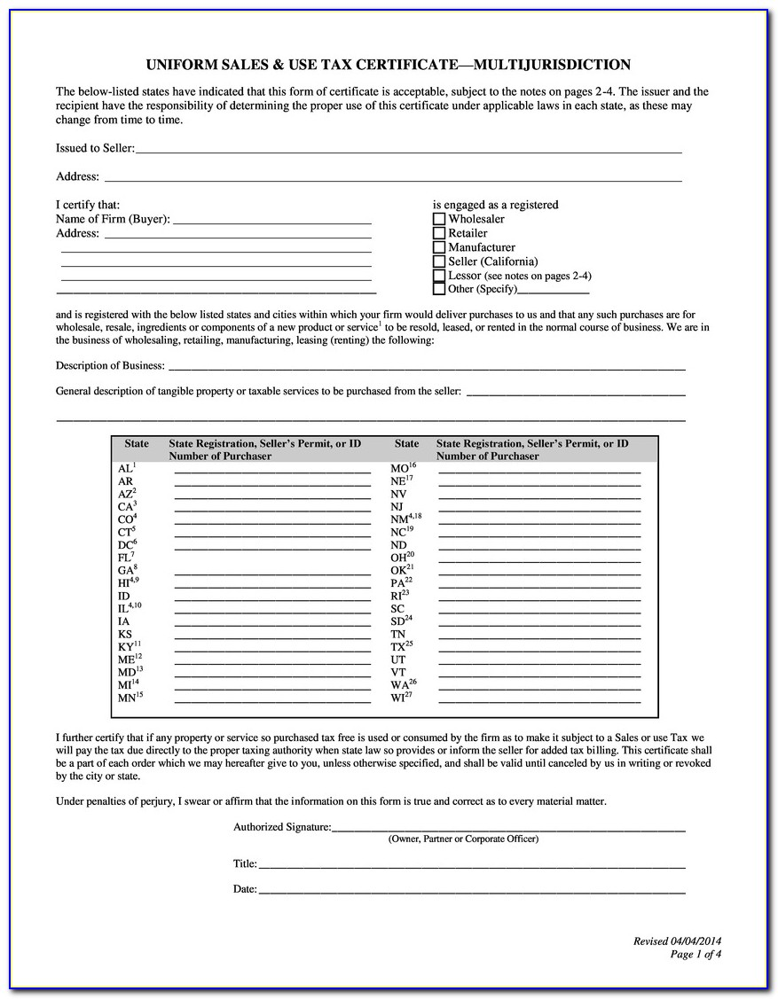 Florida Sales Tax Exemption Certificate For Nonprofit