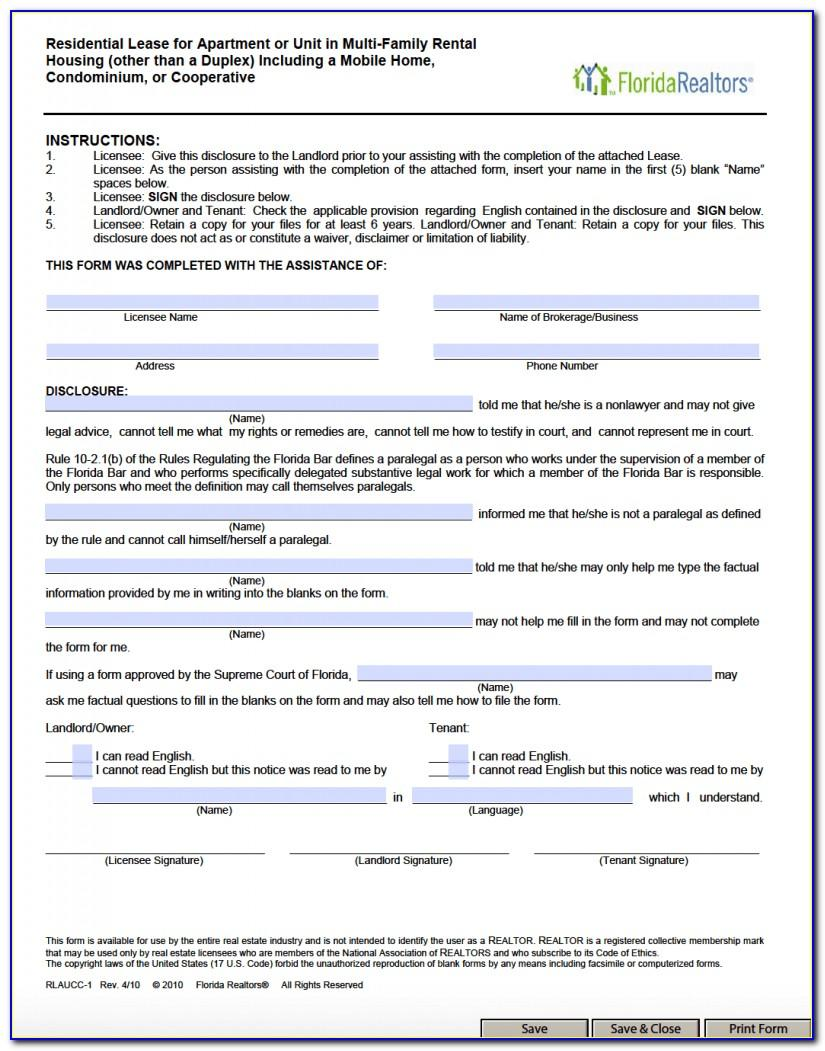 Florida Standard Residential Lease Agreement Template