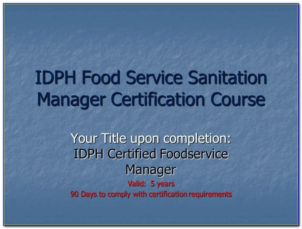 Food Handler Manager Certificate Illinois