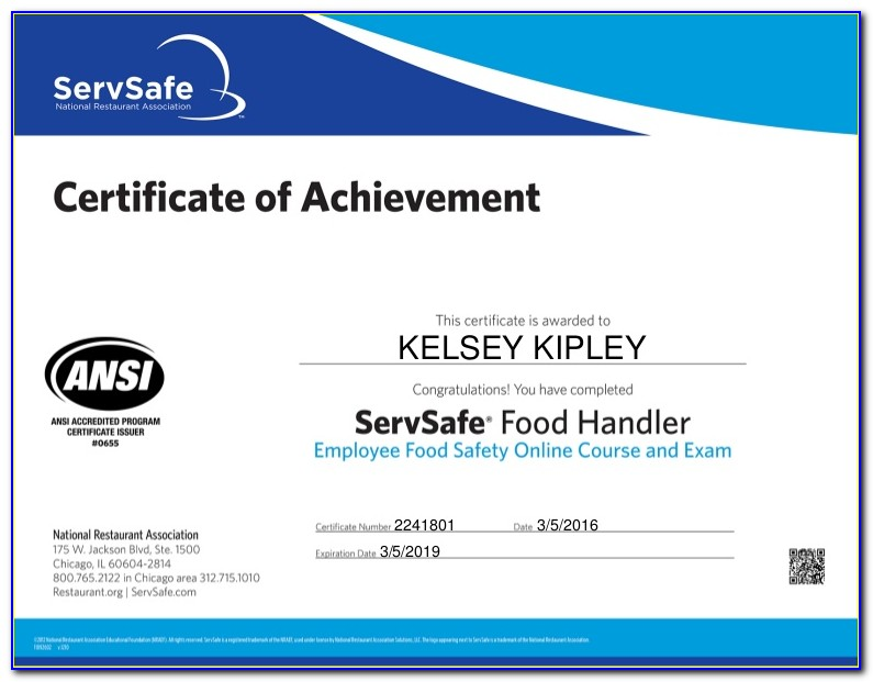 Food Handlers Card And Alcohol Service Certification