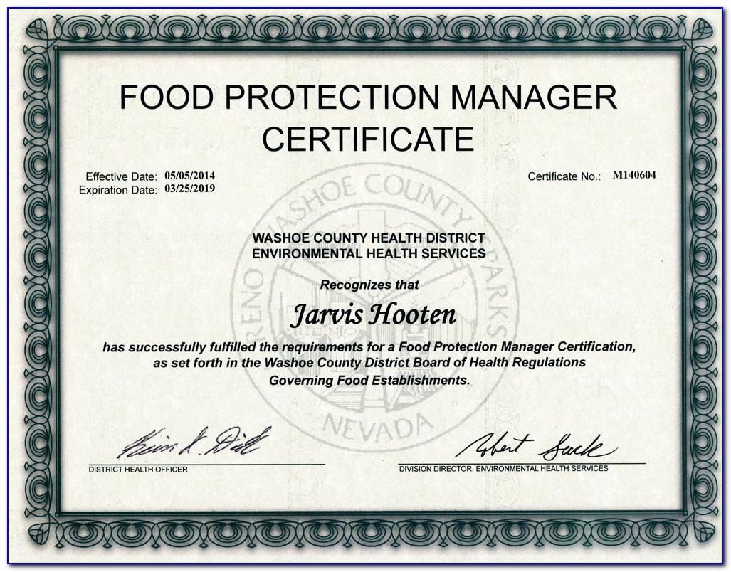 Food Service Manager Certification Harris County