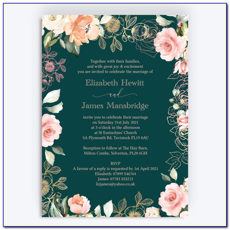 Forest Green And Gold Wedding Invitations