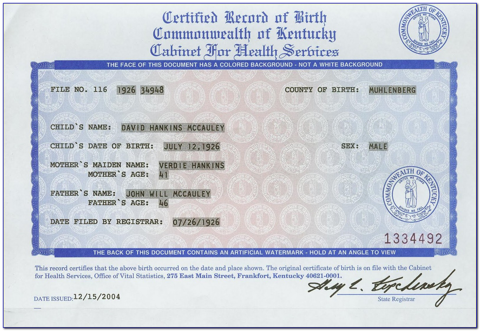 Frankfort Birth Certificate Place