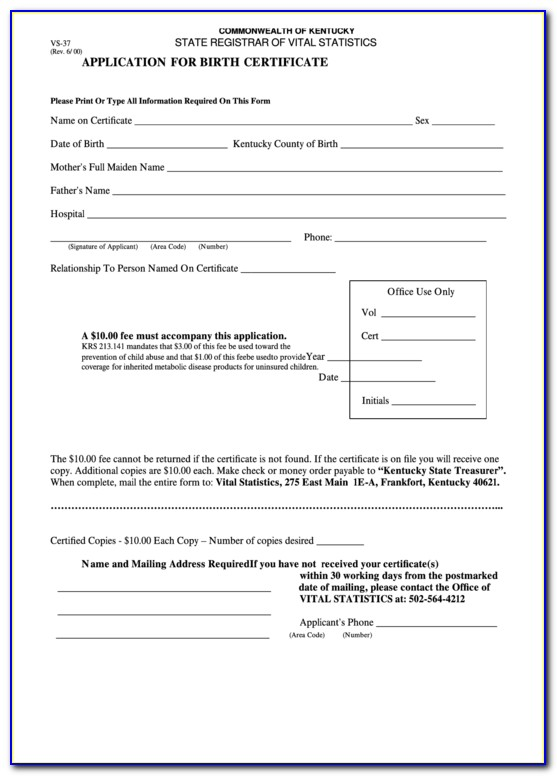 Frankfort Ky Birth Certificate Request