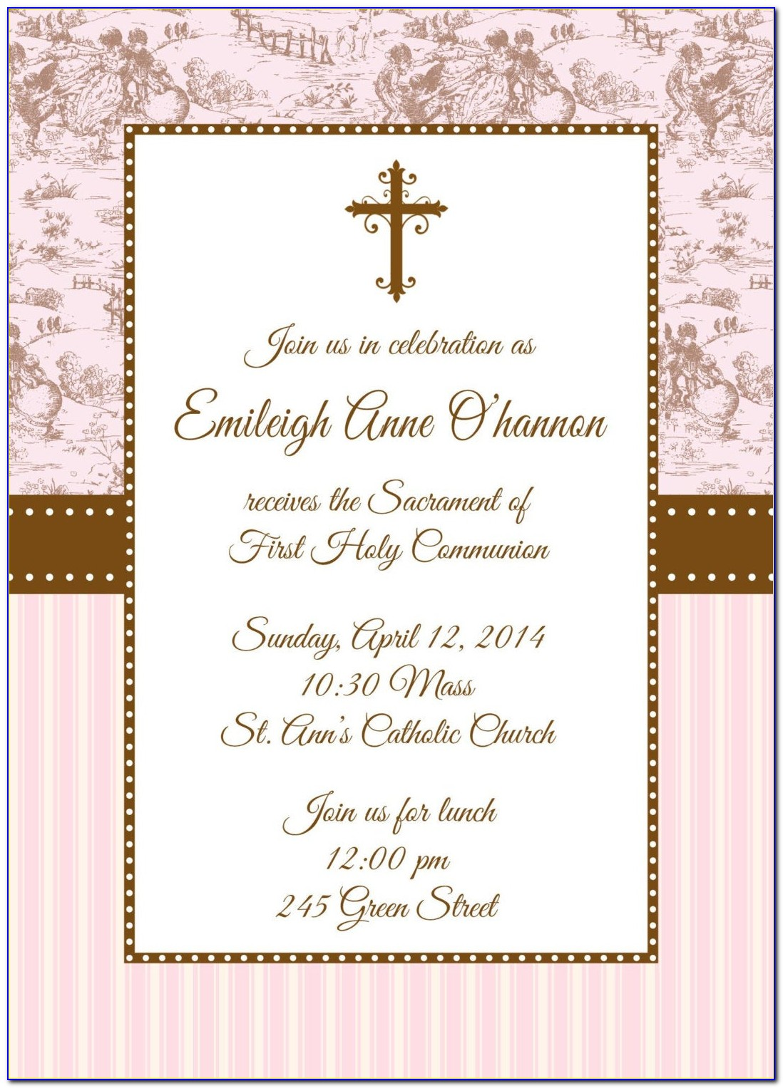 Free Printable First Holy Communion Invitations