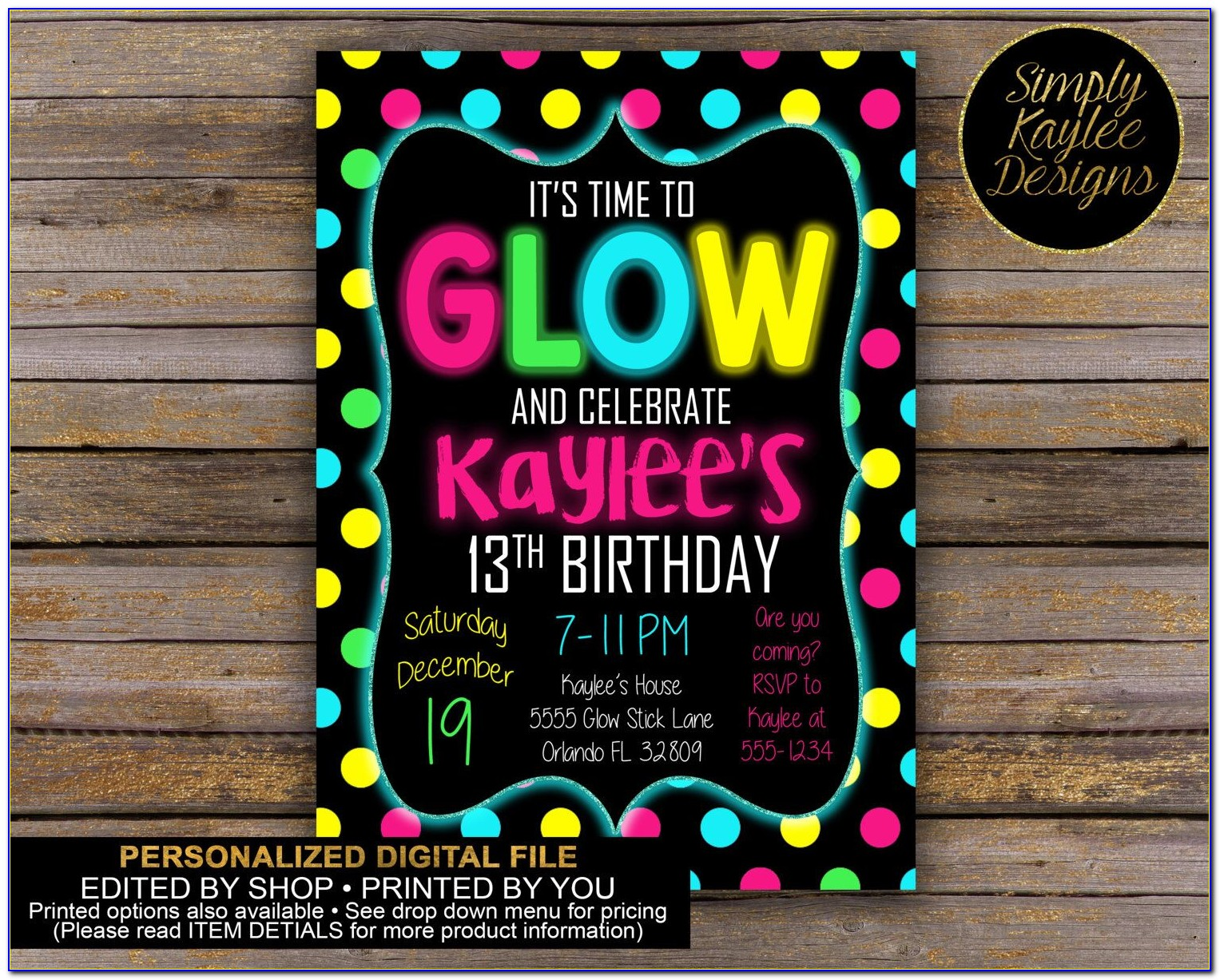 Free Printable Glow In The Dark Birthday Party Invitations