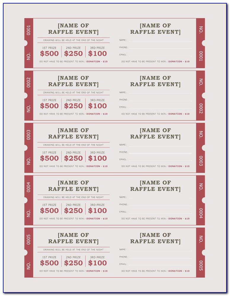 Free Printable Template For Raffle Tickets