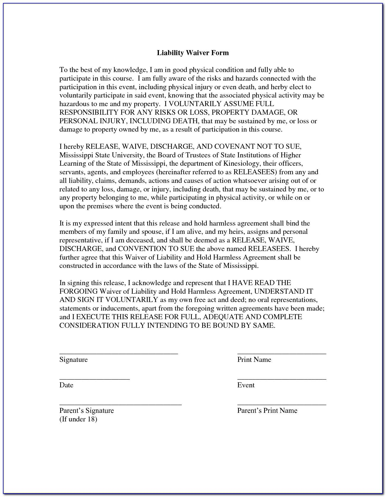 Free Release Of Liability Form Car Sale Template