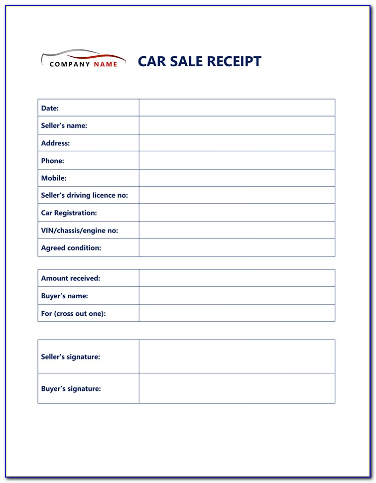 Free Used Car Sales Receipt Template 2
