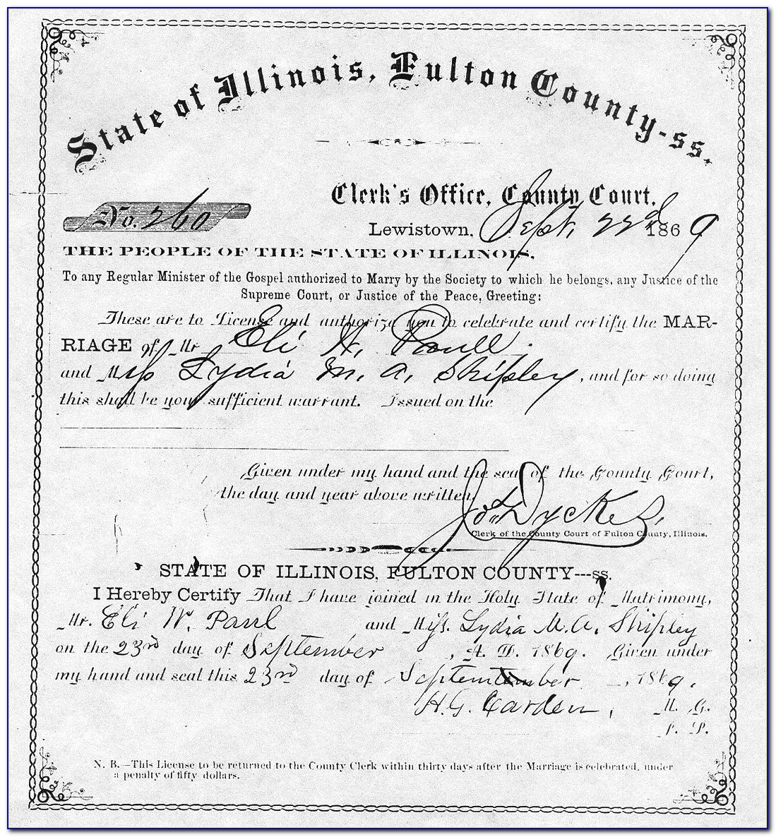 Fulton County Marriage Certificate