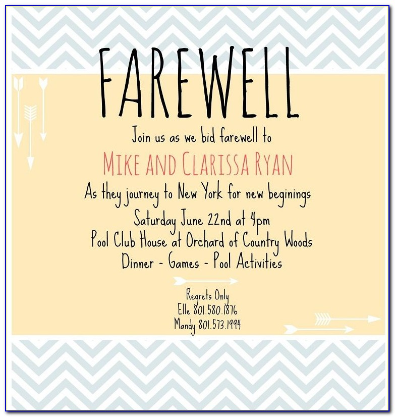 Going Away Lunch Invite Wording