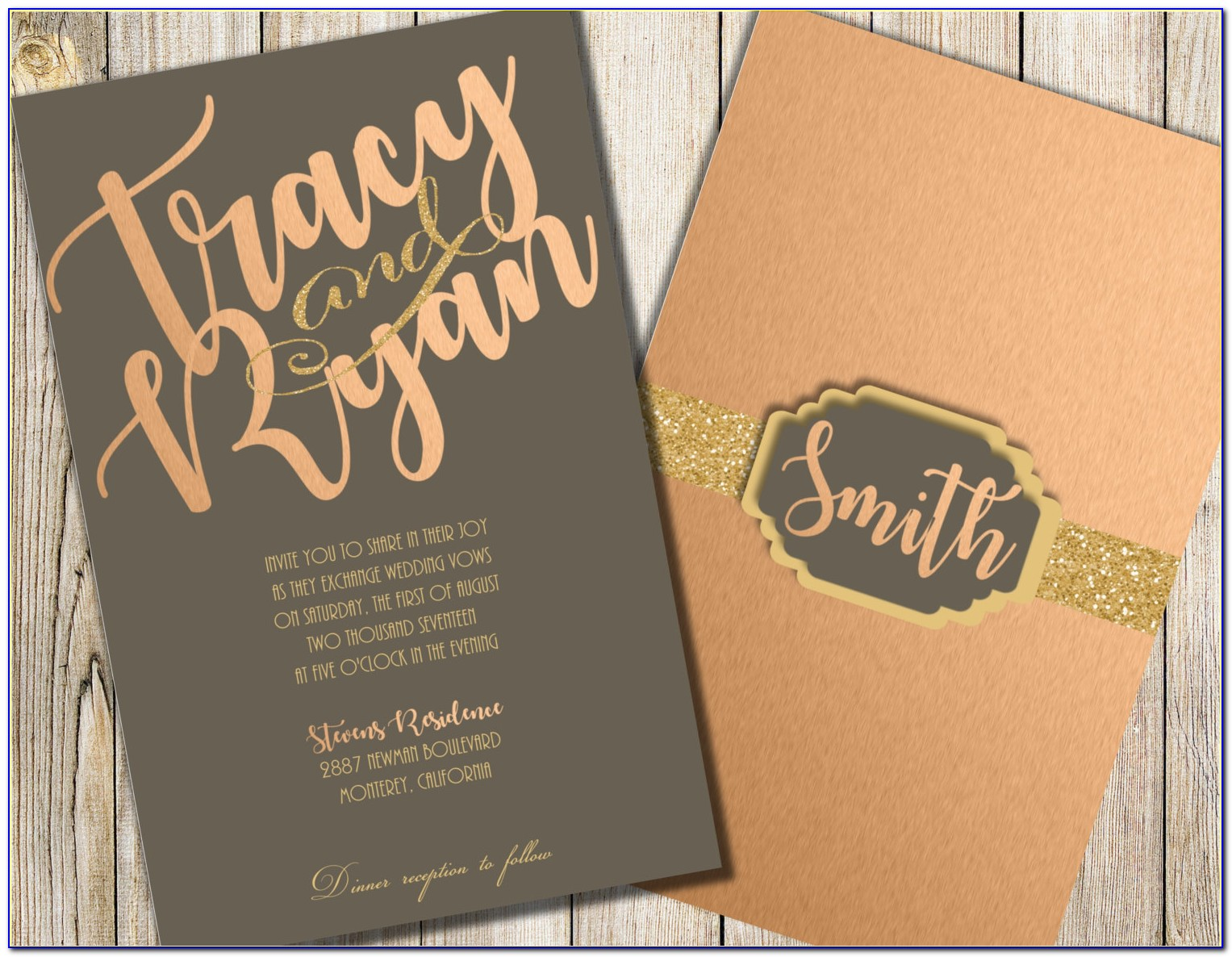 Grey And Rose Gold Wedding Invitations