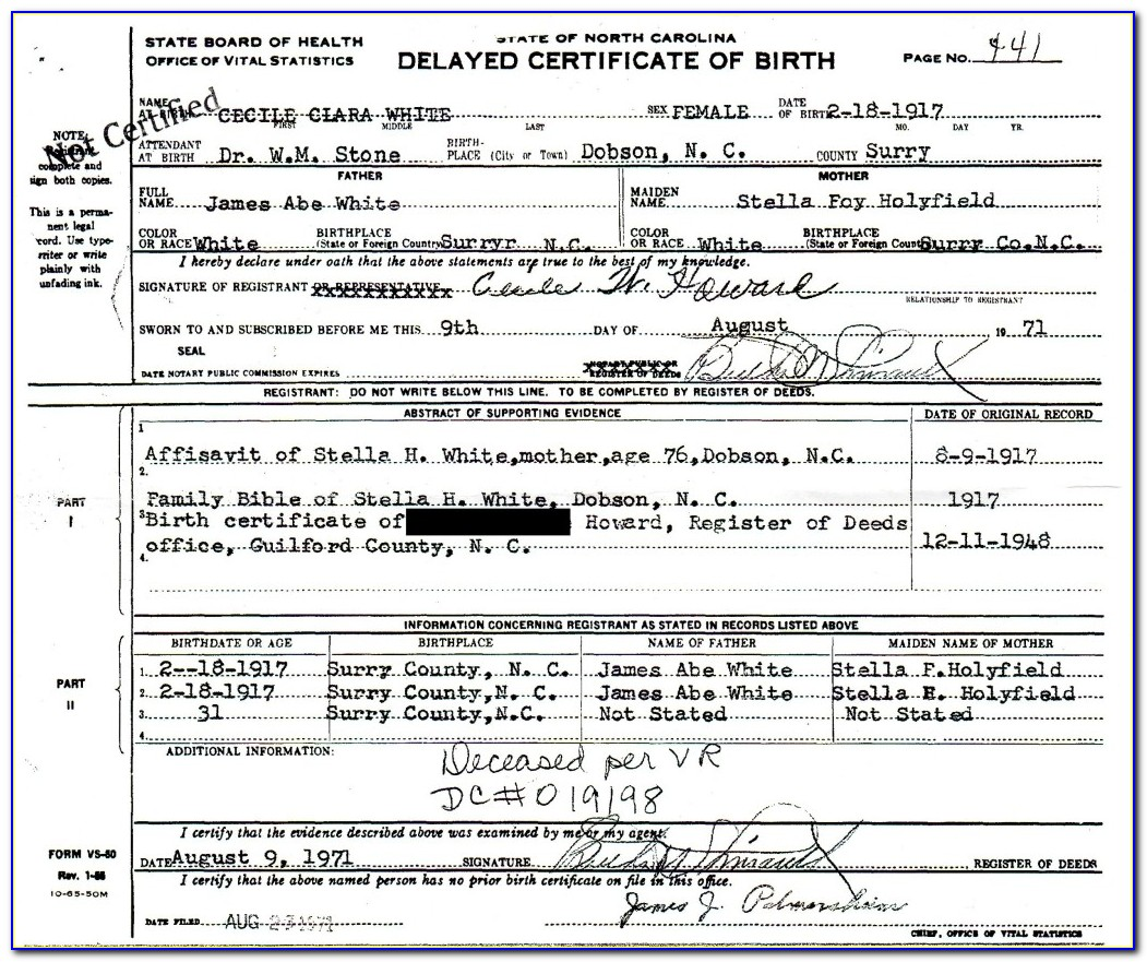Guilford County Birth Certificate
