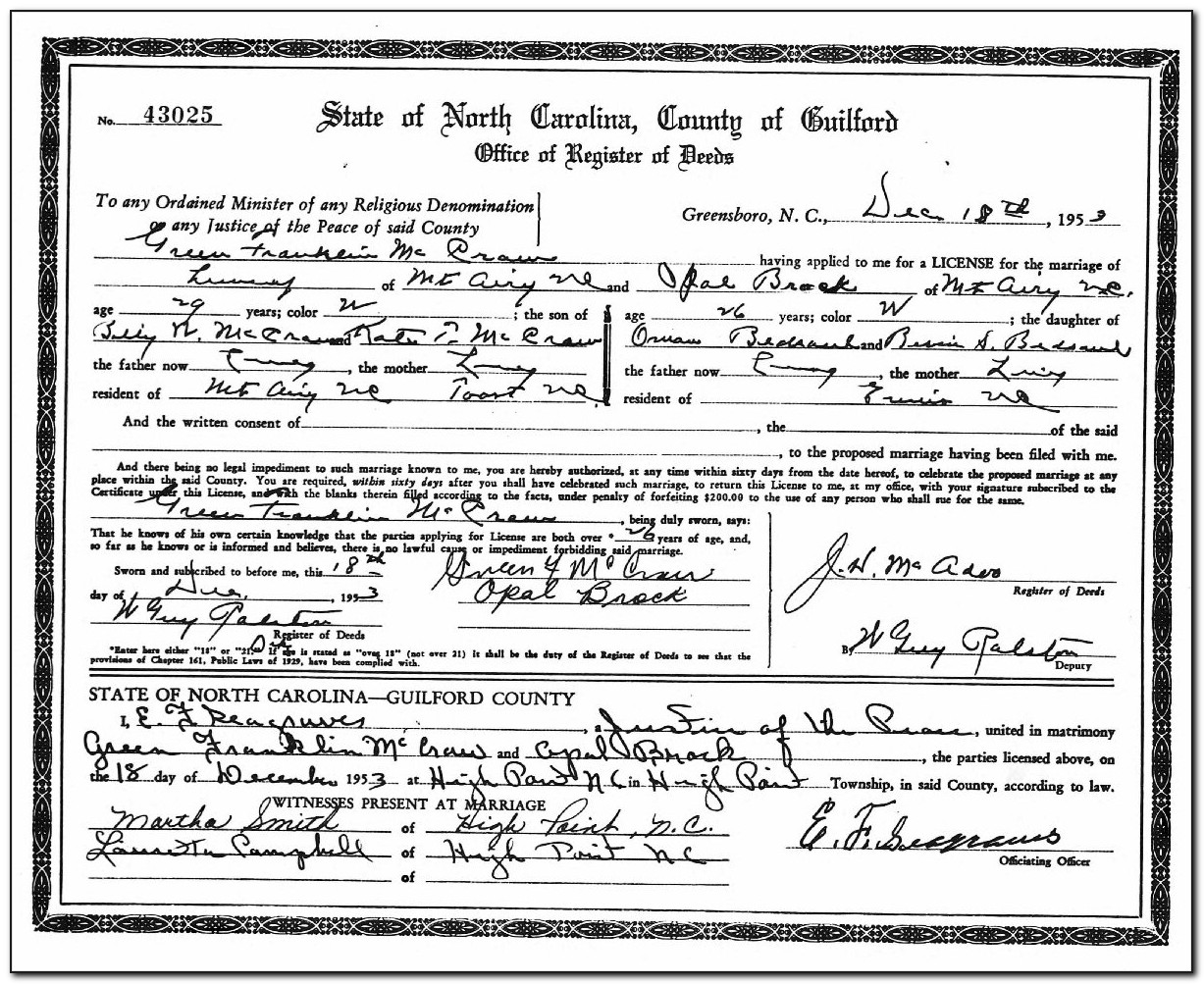 Guilford County Certified Birth Certificate