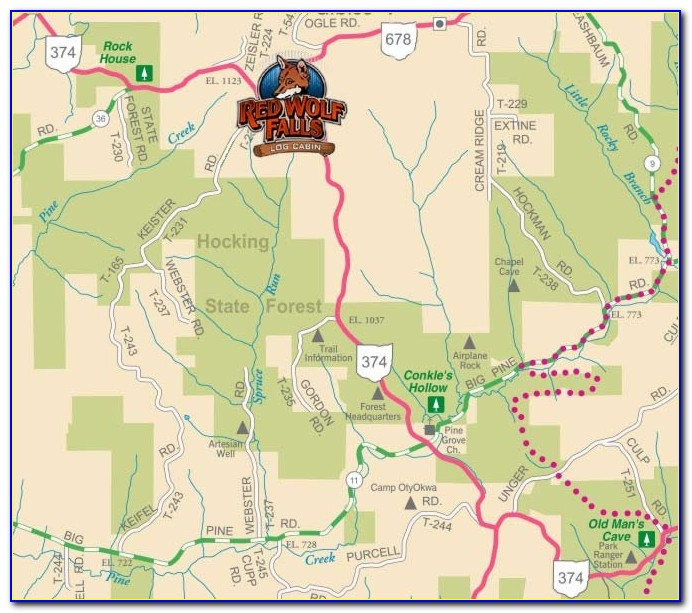 Hocking Hills Map Of Attractions