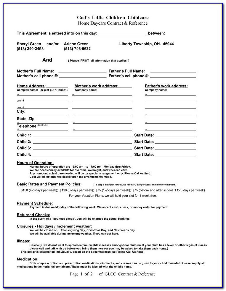 Home Daycare Contract Templates