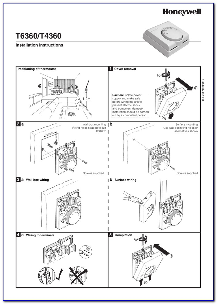 Honeywell Thermostat T6373a1108 Wiring Diagram