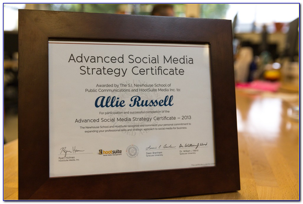 Hootsuite Advanced Social Media Strategy Certificate