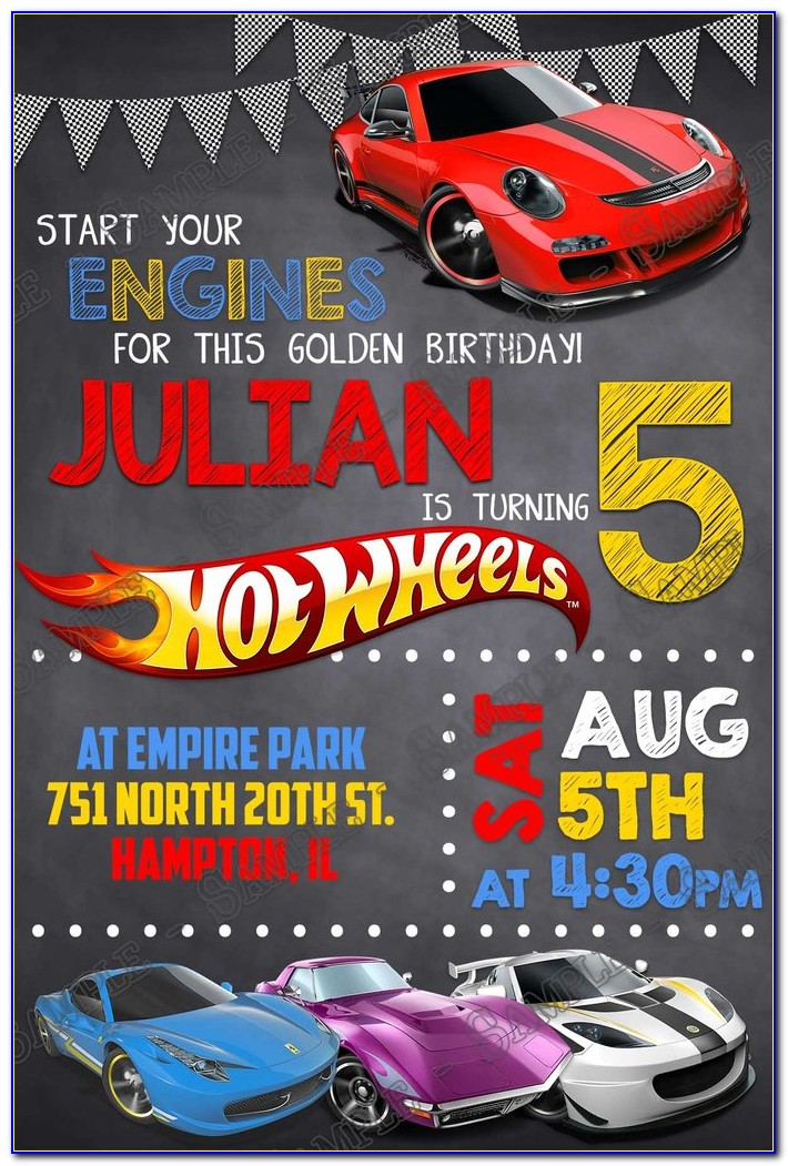 Hot Wheels Birthday Invitation With Photo