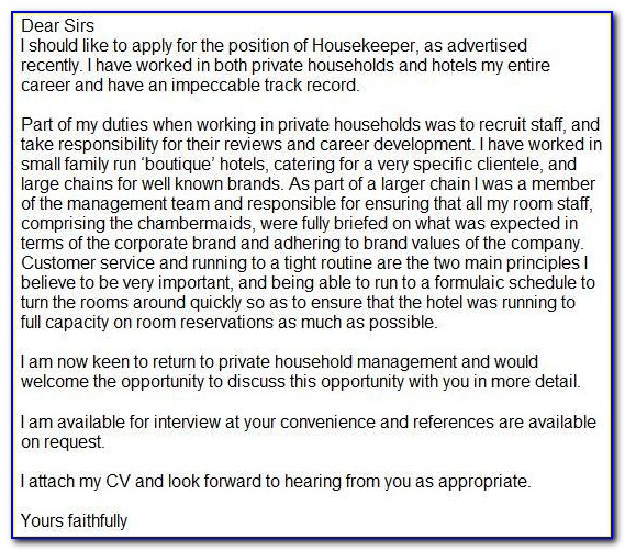 Housekeeping Cover Letter Samples