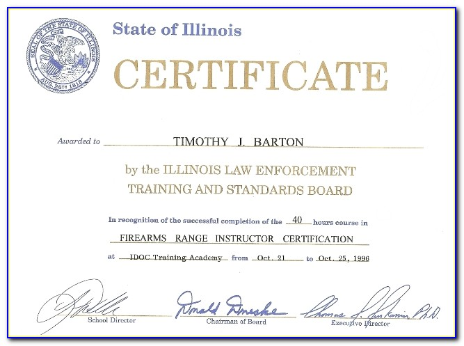 Illinois Concealed Carry Training Certificate