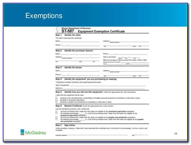 Illinois State Sales Tax Exemption Certificate
