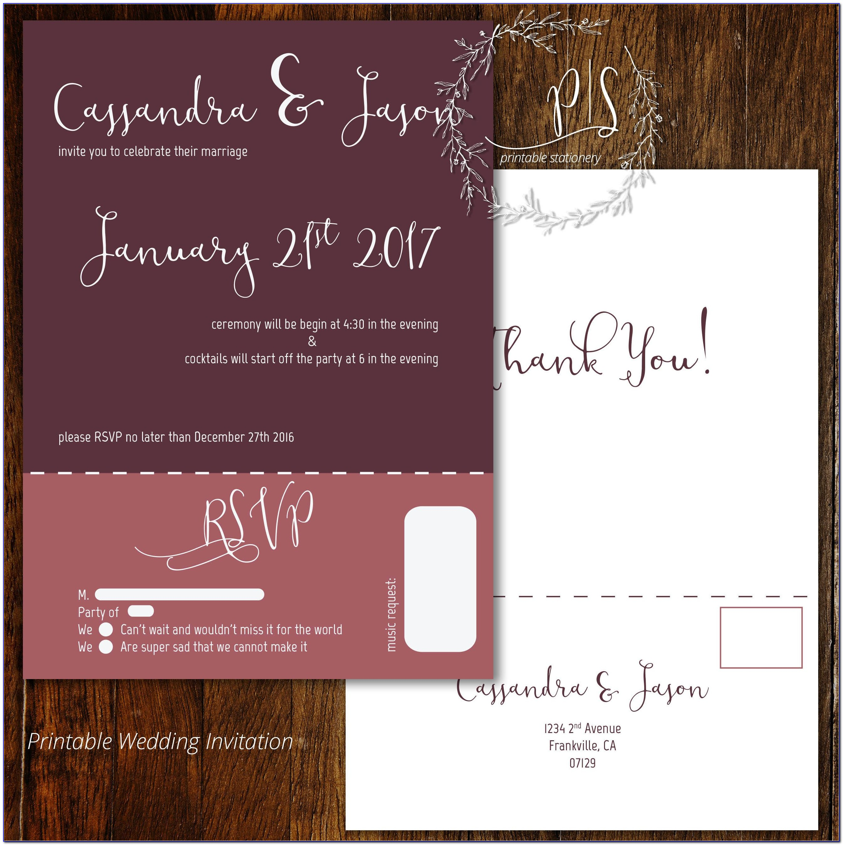 Invitations With Rsvp Attached