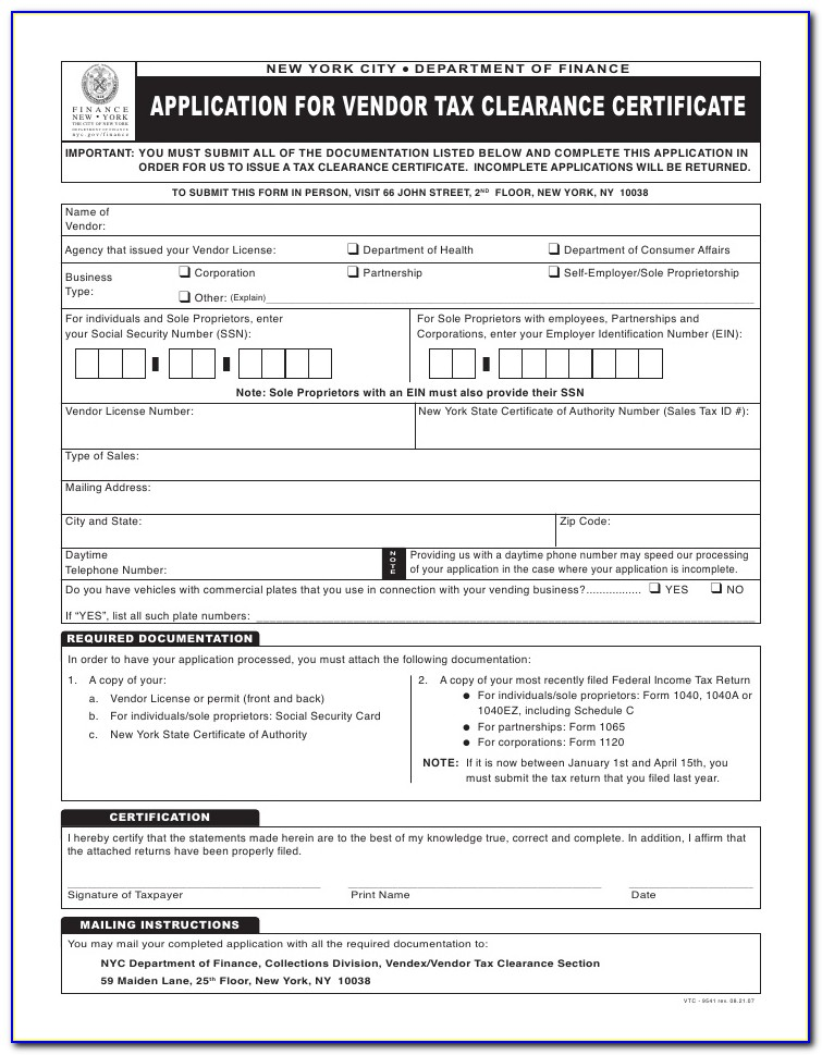 Irs Business Tax Clearance Certificate