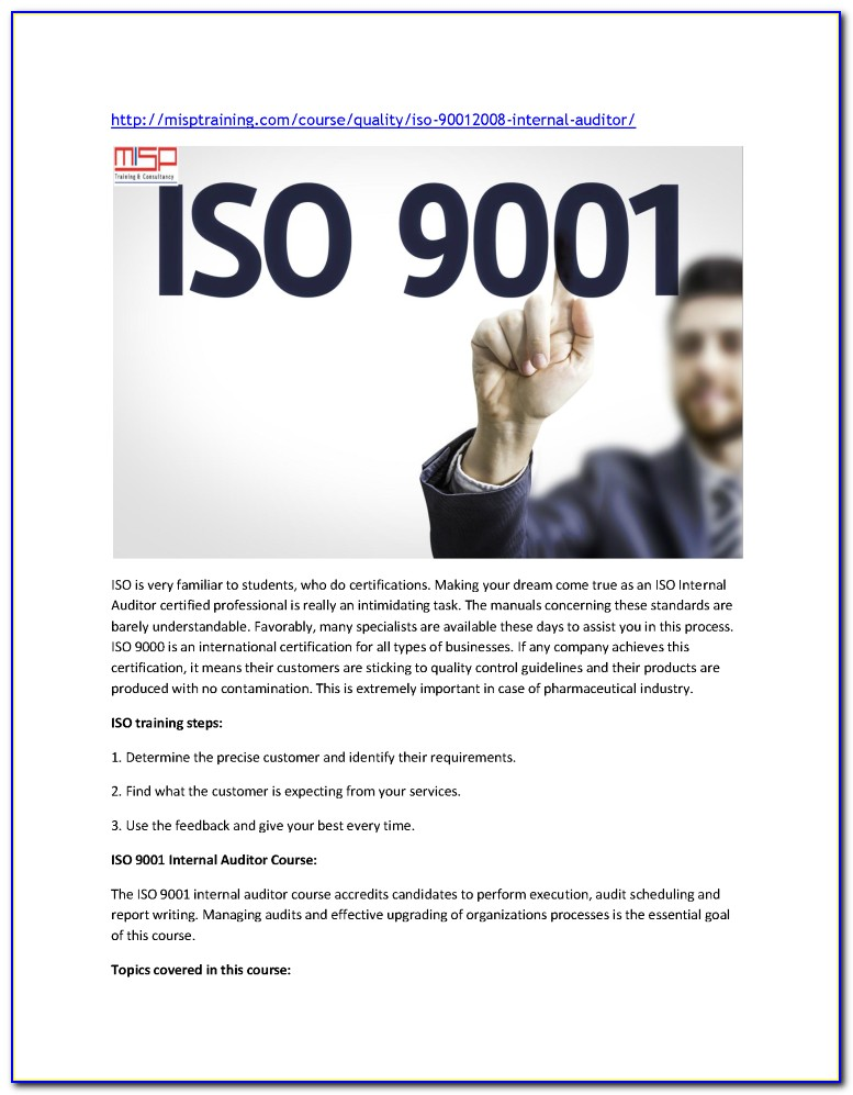Iso 9001 Lead Auditor Training Online Free