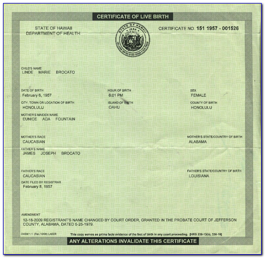 Jefferson County Courthouse Birth Certificate