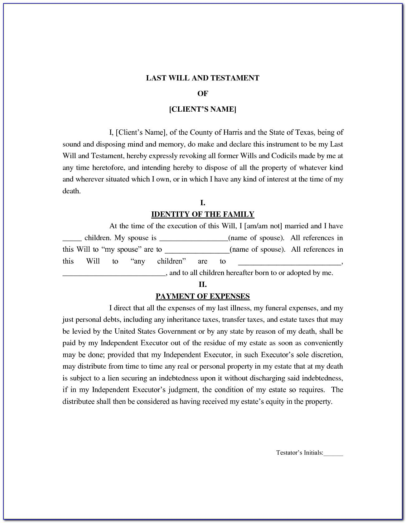Joint Last Will And Testament Template Texas