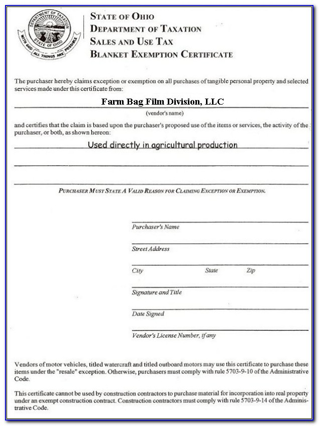 Kentucky Sales And Use Tax Blanket Exemption Certificate