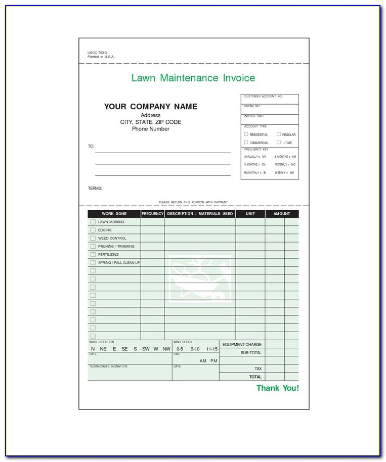 Lawn Care Invoice Examples