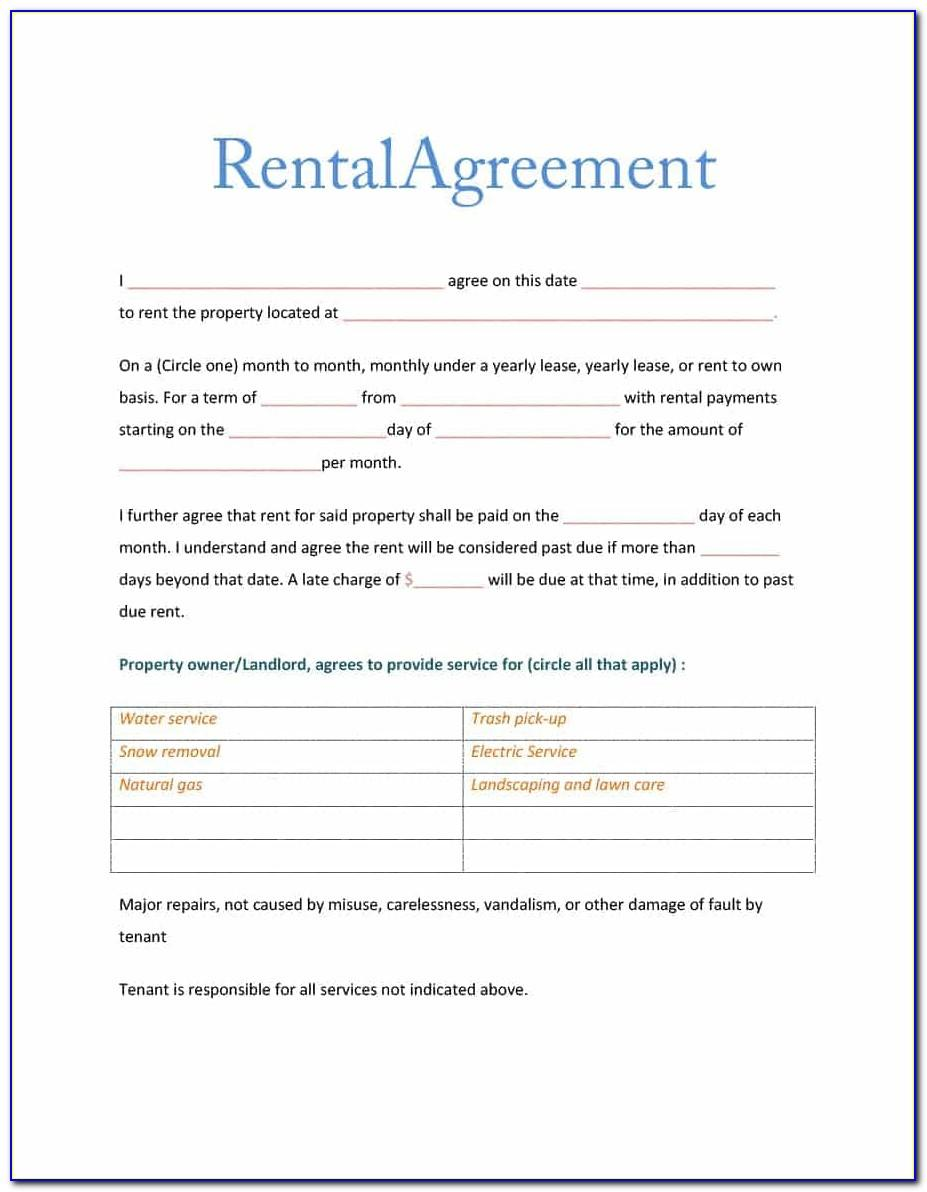 Lease Agreement Template For Room Rental
