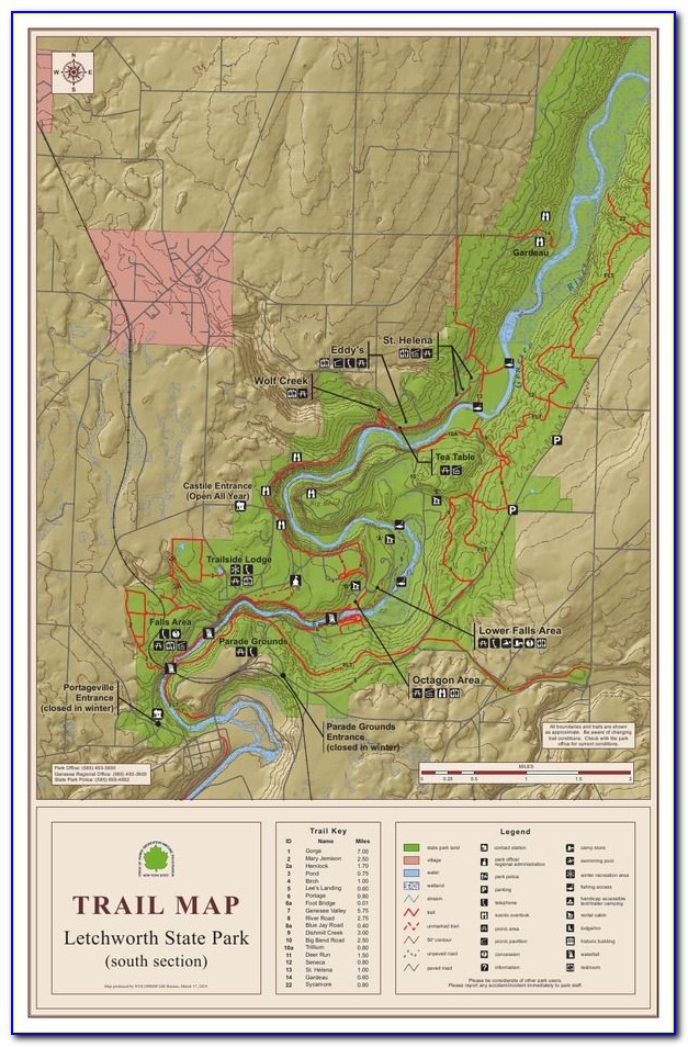 Letchworth State Park Map Hiking Trails