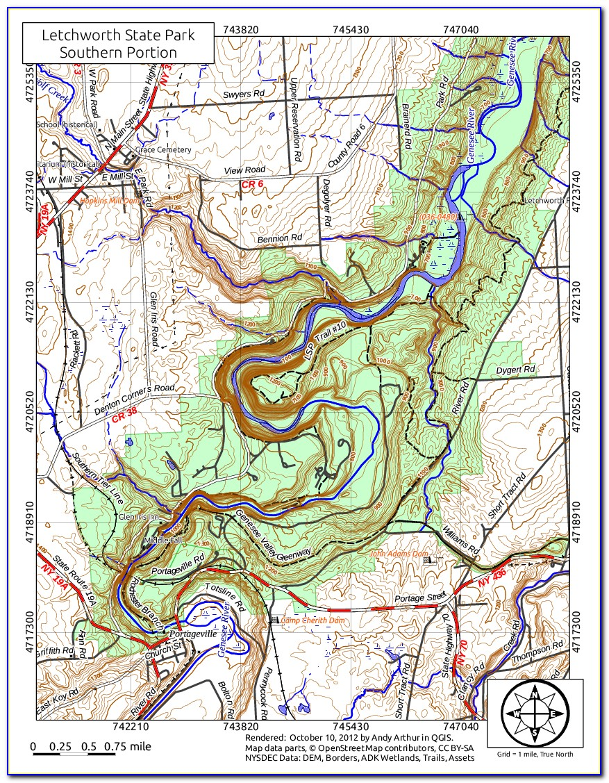 Letchworth State Park Map North
