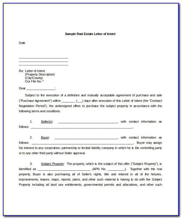 Letter Of Intent Sample Word Format