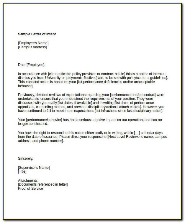 Letter Of Intent Template Word Free