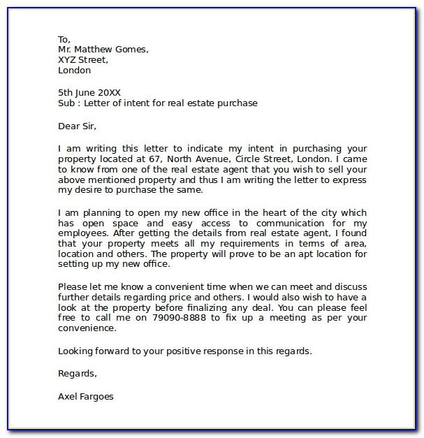 Letter Of Intent To Purchase Real Estate Free Template
