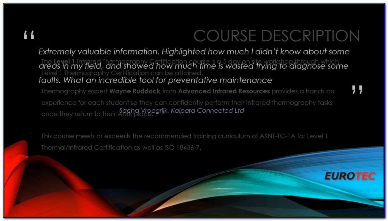 Level 1 Thermography Certification Online