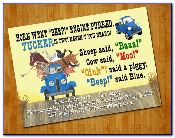 Little Blue Truck Party Invitations Free