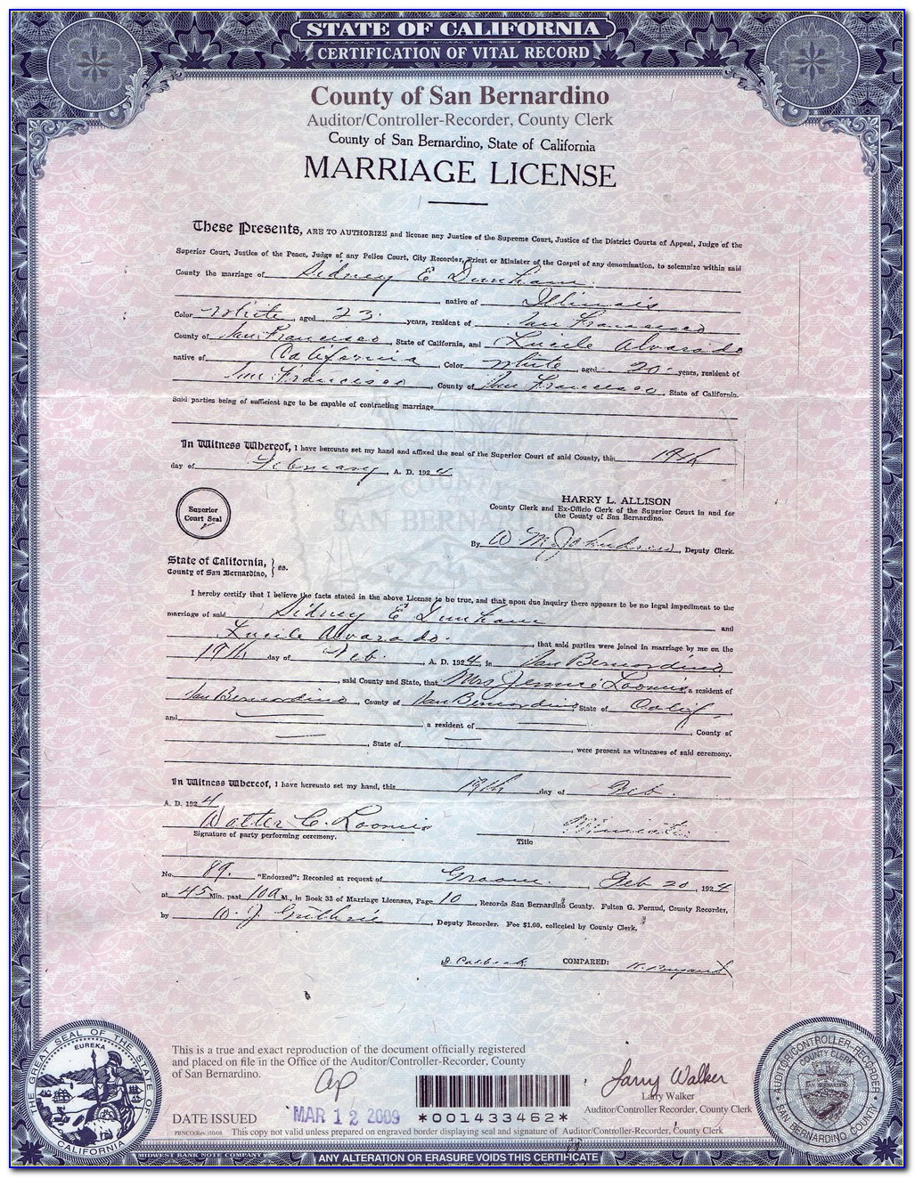 Los Angeles County Records Marriage Certificate