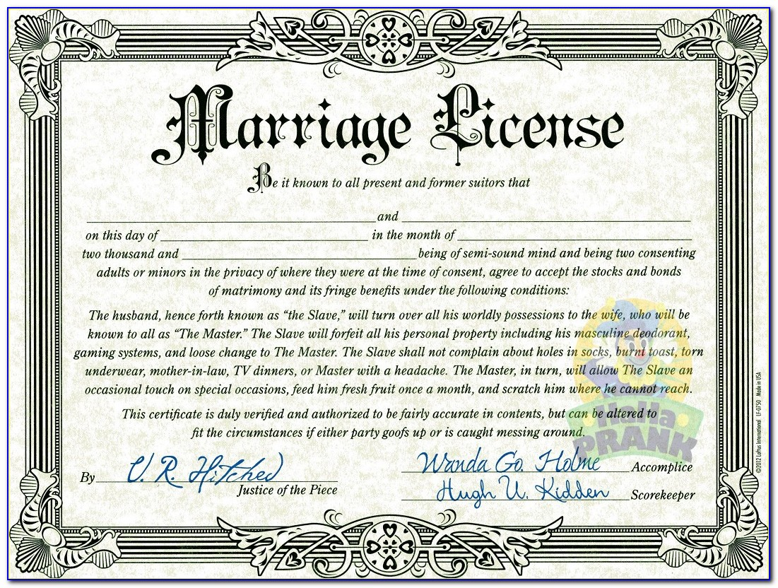 Make A Fake Marriage Certificate Online